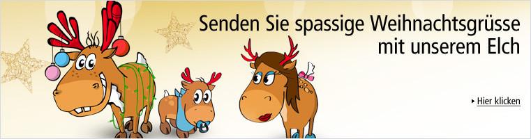 Senden Sie spassige Weihnachtsgrüsse mit unserem Elch Karli