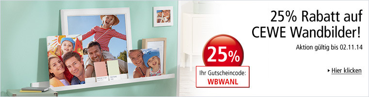 Weltbild Fotoservice: 25% Rabatt auf CEWE Wandbilder