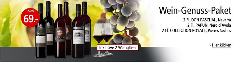 SCHULER - Wein-Genuss-Paket - 6 Flaschen à Fr. 69.- inklusive zwei Weingläser