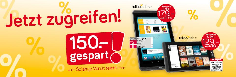Jetz reduziert: Das tolino-tablet