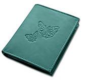 "HJP Damen-Geldbörse ""Butterfly"", aus Leder (Farbe: türkis)"